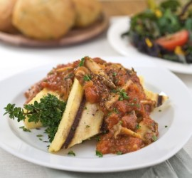The Best Gluten Free Dinner Recipes Polenta with Mushrooms and Spaghetti Sauce